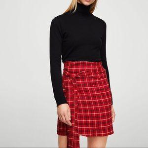 Mango Check Wrap Skirt (plaid, tartan)